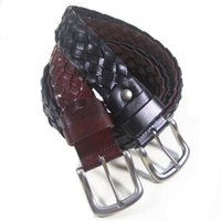 Wholesale Unisex Plaited Real Leather Weaved Braided Vintage Mens Belt cowskin Belts Colours mm