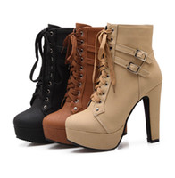 beige platform booties - 2016 Autumn Winter Women Ankle Boots high heels lace up leather double buckle platform short booties new black