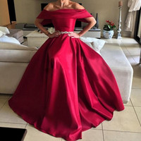 arabian robes - Sexy Off The Shoulder Arabian Red Prom Dresses Long Beaded Belt Floor Length Cheap Women Robes De Soiree Longue Evening Party Gowns
