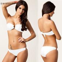 2016 mode nouveaux modèles femme bikinis mode doré U anneaux boob tube top sexy maillot de bain maillot de bain triangle bikini de haute qualité