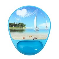 Wholesale Novelty Photo Gel Mouse Pad and Wrist Rest with Microban Protection Cool Electronic Accessories Office Tools Blue Sailboat And Purple Tower