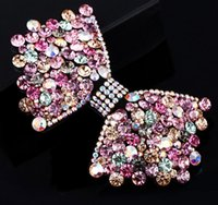 Wholesale Luxurious hair shiny butterfly is made of high quality leather import Austria diamond boutique China supply