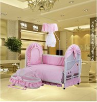 Wholesale The Moon Fairy Tales baby bed wood multifunctional baby bed cradle bed table bed lacquerless children bed in BB