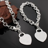 Wholesale real sterling silver jewelry Crystal heart necklace bracelet fine silver charm chain set for women popular hot sale
