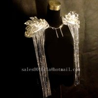 ballroom supplies - Led Luminous Women Shoulder Vest Ballroom Women Costume Dancing Nightclub Party Stage Fringed Epaulets Dress Clothes