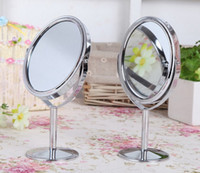 Wholesale 8cm Round Silver metal Makeup Cosmetic Compact Stand Mirror Double Sided X X Magnifying desk mirror