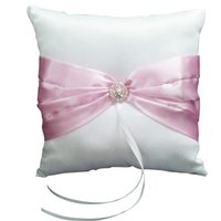 Wholesale JEYL Hot Wedding Ceremony White Satin Ring Pillow Cushion Pink Ribbon Decor