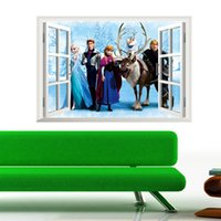 Wholesale piece D Movie Cartoon Character Anna Elsa The Snow Queen Wall Sticker for Kid Room Home Decor Removable Waterproof Decal
