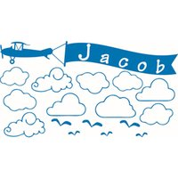 airplane bathroom decor - New Custom Made Name Clouds Airplane Wall Stickers Personalized Wall Decals for Kids Bedroom Nursery Room Home Decor WS360