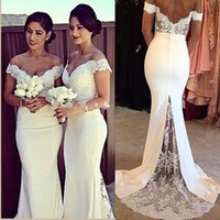 Wholesale China Blue Wedding Dress - Luxury White Burgundy Formal Bridesmaid Dresses Lace Sexy Off Shoulder Mermaid Wedding Guest Dress Backless Satin With Train China D35