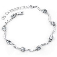Wholesale Top Grade Sterling Silver Link Chain Bracelet Hot Sale Fashion Bangle Bracelets for Women Girl Wedding Party Free ship WH