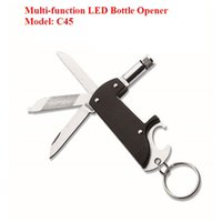 Wholesale factory creative in1 multi function LED beer bottle opener with key ring promotional gift and outdoor sport small knife tools