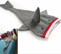 Wholesale Kids shark mermaid tail blanket handmade knitted newborn baby shark blanket newborn photography props blanket baby sleeping bag