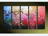 Wholesale 5 piece modern abstract wall canvas art large decorative cherry blossom handmade oil painting on canvas for living room Office