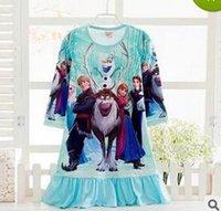 baby silk pajamas - highgrade rozen Dress Princess Pajamas Baby Sleepwear Elsa Anna frozen Girls Dresses Snow White Long Sleeve Pajamas Kids Pajamas Nightdress