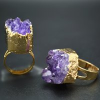 amethyst uruguay - Gold Plating Uruguay Drusy Amethyst Stone rings Adjustable Inner Size Bridal Sets Fashion Jewelry