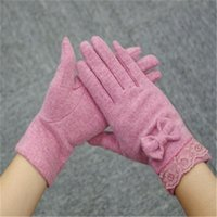 Wholesale Autumn Winter Ladies Cashmere Gloves Female Bow cashmere knitted Mitten Gloves Sweet Elegant All Match Women Grey Pink Gloves high quality