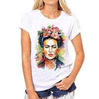Wholesale New Arrival Fashion women frida kahlo print t shirt funny Personalized t shirts Short Sleeve round Neck sugar skull tshirt
