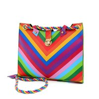 Wholesale One Shoulder Inclined Shoulder Bag Fashion Rainbow Rope Stripe Packages