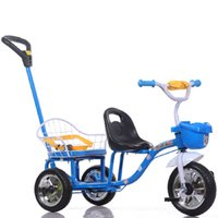Wholesale Hot Sales Large Wheels Child Tricycle Double Seats Summer Kid Outdoor Activity Toys Portable Baby Bike Strollers JN0040 smileseller