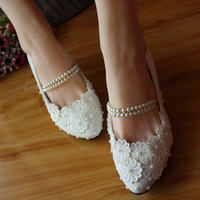 Wholesale Exclusive New With Women s Shoes In White Lace Pearl Hand Beaded Strap Bridesmaid Bridal Wedding Shoes Bridal Shoes White Satin