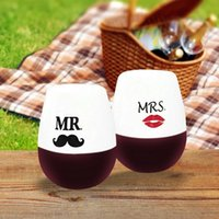 Wholesale Silicone Wine MR MRS Glasses Unbreakable Premium Food Grade Stemless Drinking Cups Dishwasher safe Recyclable Rubber Wine Glasses HHA930