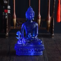 Wholesale 5 Inch Real Liuli Bhaisajyaguru Medicine Buddha Statue Buddhist Prayer Room Decor