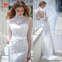 Wholesale 2016 New Arrival Lace Mermaid Wedding Dresses Elegant Sheer High Neck Long Sleeve Vintage Bridal Gowns with See Through Back