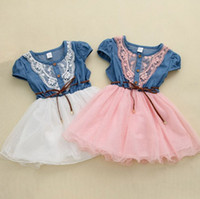 short dress with jeans - Children fashion jean dress girl summer jeans dress with belt denim kids dress for girls children clothing kids short sleeve dress with be