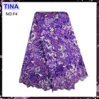 Wholesale Lastes Embroidery African Tulle Lace Fabric With Stones And Beads For Wedding Dress Price Polyester French Net Lace purple