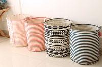 Wholesale Zakka Style Cotton and Linen Household Storage Box Laundry Classification Basket Fold Bin Stripe Printed