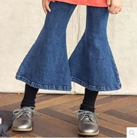 Wholesale New Fall Kids Girls Big Boot Cut Jeans Pants Fashion Vintage Kid Girl Ruffles Western Cow Girl Pants