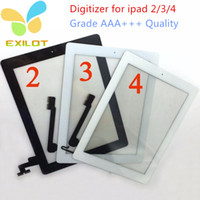 Wholesale Touch Screen Glass Panel Digitizer with Home Buttons Adhesive for iPad Black and White
