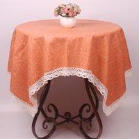 Wholesale Cotton Linen Home Textile Decor Orange Table Cloth Small Florets Pastoral Lace Edge Table Cover for Tables