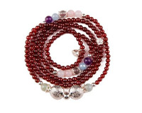 Wholesale The original design of Silver Flower Silver beaded bracelet natural garnet crystal multi ring bestie Bracelet