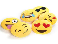 Wholesale Soft Emoji Smiley Emoticon Yellow Round Stuffed Plush Toy Doll Cushion Pillow