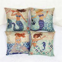 art textiles - Home Carden Cotton linen Pillow Case cute Mermai cartoon printed Backrest Pillow case Europe style Zipper sofa Cloth art Home Textiles A9441