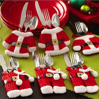 Wholesale Creative household items Desktop Christmas decoration Christmas a knife and fork cutlery set of Santa dress pants