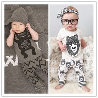 animal retail - Hot retail new children clothing kids boys sets Little Monster short sleeved T shirt long pants suits cotton