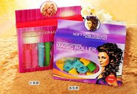 Wholesale 18PCS set Candy Color DIY Leverag Hair Curlers Tool Styling Rollers Spiral Circle Perm Retail Package sets