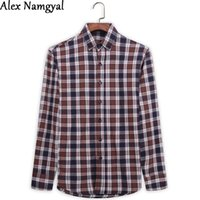 Wholesale AL45 Autumn New Arrival Men s Shirt Cotton Plaid Shirts Long Sleeve Casual Shirt Men Brand Soft Dress Shirts Camisa