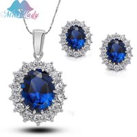 big kate - Big Blue Crystal Gold Plated Rhinestone Crystal William Kate Queen sapphire bridal wedding Jewelry Sets for women MLZ1194