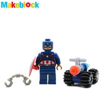 assembled model cars - Captain America with Car Civil War SUPER HEROES THE AVENGERS Assemble Minifigures Model DIY Building Blocks Kids Toys Gifts