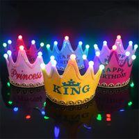 big happy hair - Birthday Party Led Flashing Hat Happy Birthday Princess King Luminous Glow Birthday Hats Cap Flashing Hair Accessory led flashlight Headband