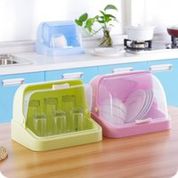 baby food rack - New Arrival Transparent plastic baby feeding bottle dryer rack drainer glass dishes sideboard Storage Box with lid