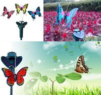Wholesale Hot New Vibration Solar Power Color Dancing Flying Fluttering Butterflies Garden Decor Solar Panel Flying Butterfly B246