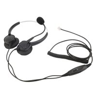 Wholesale Hot Fashion Pin Call Center Corded Operator Telephone Headset with Mic With Crystal Head