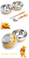 bear spoon - Hello Kitty Vigny Doraemon bear tableware set Cartoon children burn proof stainless steel tableware spoon set bowl ZD066B