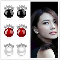 Fashion Red Black Agate blanc pierre de lune Opal Pearl Stone Boucles d'oreilles 925 plaqué or Stud Ear Jewelry Mirror boucle d'oreille pour les femmes Cadeau de Noël