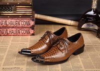 Wholesale Brown Mens Dress Wedding Groom Shoes Flats Genuine Leather Italian Style Oxfords Male Dress Party Shoes Plus Size